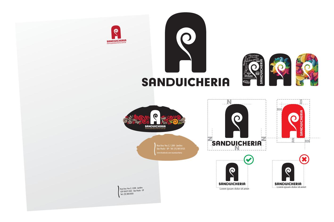 Criação da logomarca e papelaria A Sanduicheria