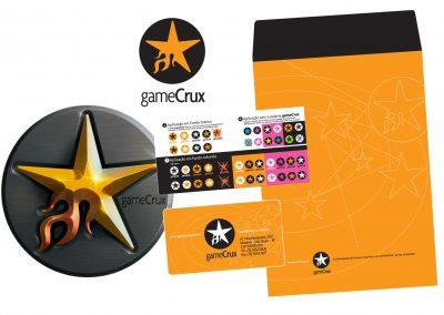 Criação da logomarca Gamecrux, manual de aplicação da marca, cartão de visita e envelope grande