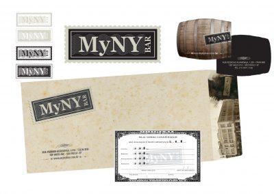Criação da logomarca MYNY Bar, cartão de visita e envelope carta