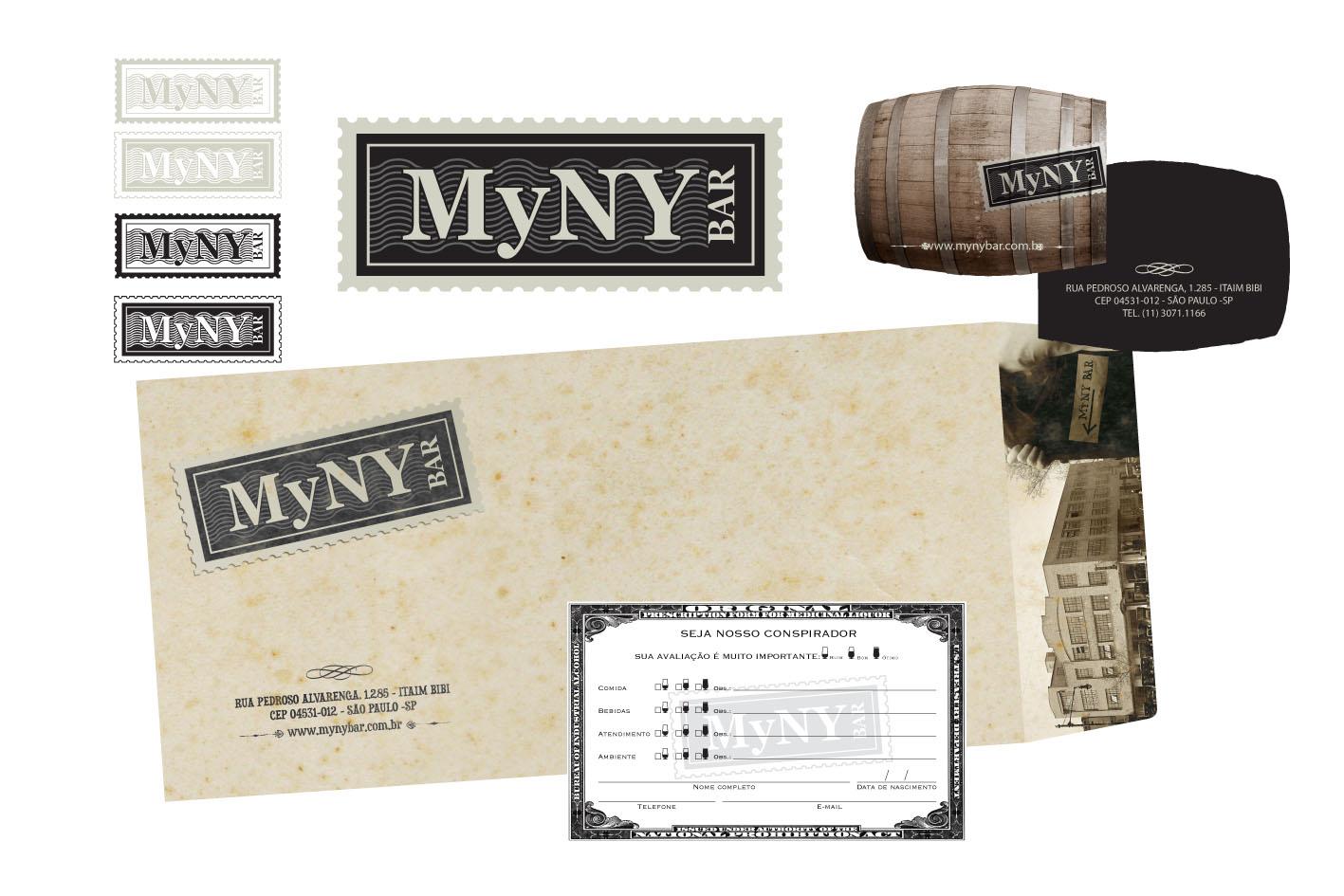 Criação da logomarca e papelaria MYNY Bar