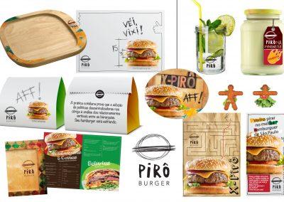 Projeto gráfico da hamburgueria Pirô